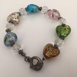 Jewelry - MODERN ESTATE Puffy Heart Glass Bead Bracelet
